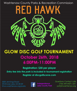 3rd Annual Red Hawk Glow Disc Golf Tournament AM ONLY graphic