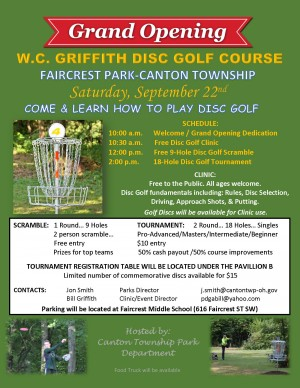 WC Griffith Disc Golf Course Grand Opening graphic
