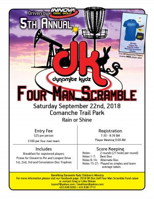Driven by Innova - 5th Annual Dynamite Kydz Disc Golf Four Man Scramble graphic