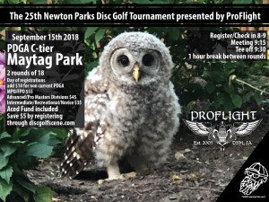 The 25th Newton Parks Disc Golf Tournament presented by ProFlight! graphic