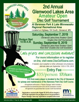 Glenwood Lakes Area Amateur Open Doubles Disc Golf Tournament graphic
