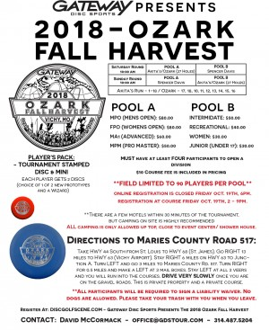 Gateway Disc Sports Presents The 2018 Ozark Fall Harvest graphic