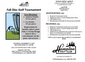 Hampton Golf Club Fall Disc Golf 2 person scramble graphic