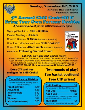 Chain Hawks 5th Annual Chili Cook-off and Bring Your Own Partner Doubles Event graphic