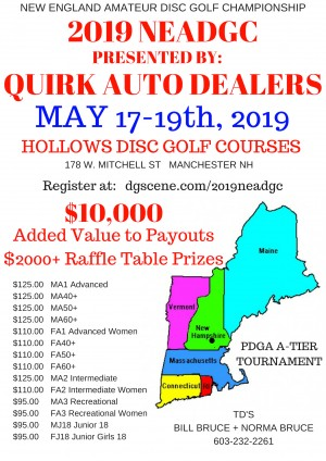 2019 New England Amateur Disc Golf Championship Presented by QUIRK Auto Dealers graphic