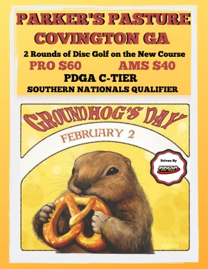 Parkers Pasture Groundhog Day Disc Golf Celebration Driven by Innova graphic