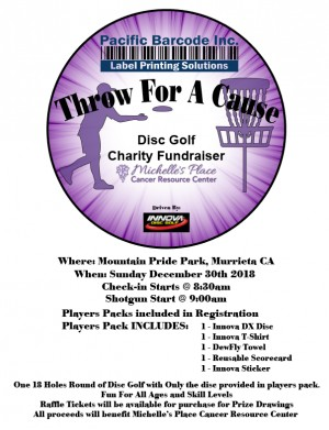 Pacific Barcode Throw for A Cause Driven By Innova Discs graphic