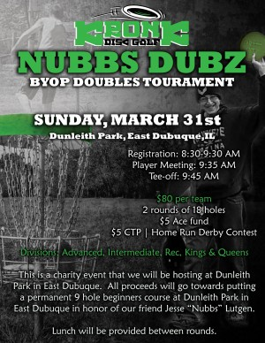 Nubbs Dubz presented by Kronk Disc Golf Charity Tournament graphic