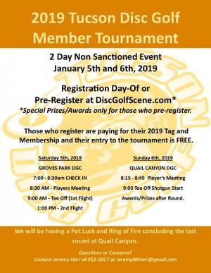 2019 Tucson Disc Golf Member Tournament graphic