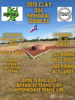 Clay Dog Memorial presented by Texas Chainwreck and Arlington Disc golf Assoc. graphic