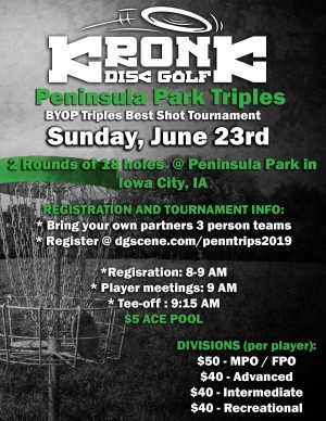 Peninsula Park Triples presented by Kronk Disc Golf graphic