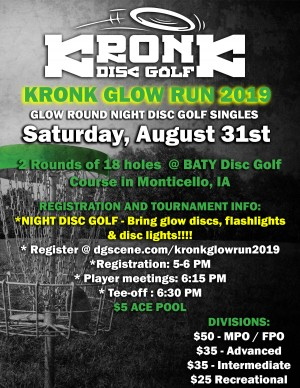 Kronk Glow Run Night Disc Golf Tournament graphic