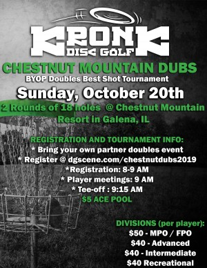 Chestnut Mountain Dubs presented by Kronk Disc Golf graphic