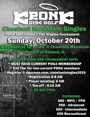 Chestnut Mountain Singles presented by Kronk Disc Golf graphic