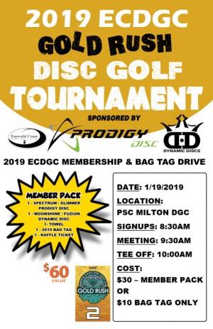 2019 Emerald Coast Disc Golf Club Gold Rush graphic
