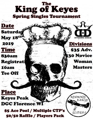 King of Keyes Spring Singles Tournament graphic