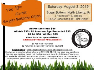 The 10th Annual Sweet Sugar Bottom Open by Vicious Circle Disc Golf graphic