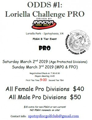 ODDS #1 - Loriella Challenge PRO Driven by INNOVA (Age Protected Divisions) graphic