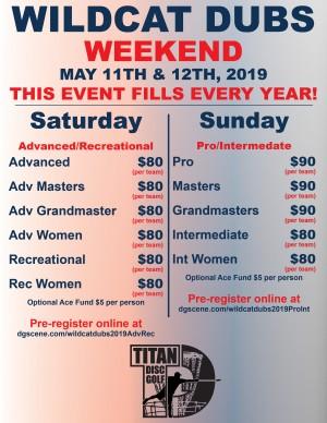 Wildcat Dubs Weekend 2019 - Adv/Rec graphic