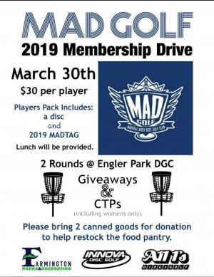 MAD Golf 2019 Membership Drive graphic