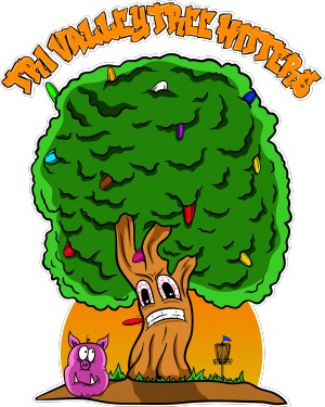 Tri-Valley Tree Hitters Disc Golf Squad inaugural bag tag and membership drive graphic