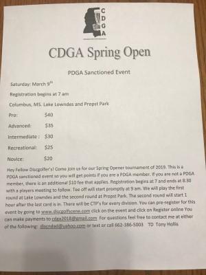 CDGA Spring Open graphic