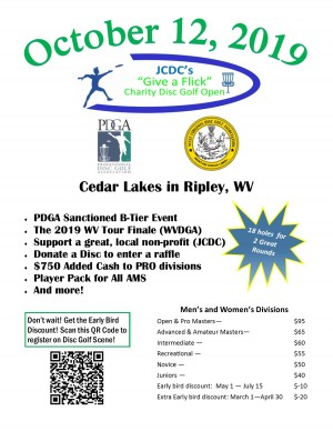 JCDC's Give a Flick Disc Golf Open graphic