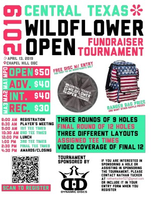 2019 Central Texas Wildflower Open - Fundraiser Tournament graphic