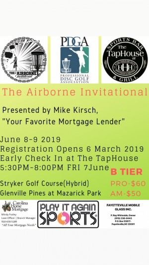 "The Airborne Invitational Presented by Mike Kirsch, ""Your Favorite Mortgage Lender"" graphic"