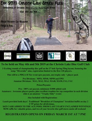 The 2019 Christie Lake Spring Fling Sponsored by Dynamic Discs a GDG $5K/$10K Event graphic