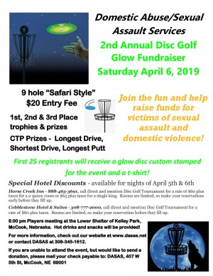 2nd Annual Disc Golf Glow Fundraiser > Domestic Abuse/Sexual Assault Services graphic
