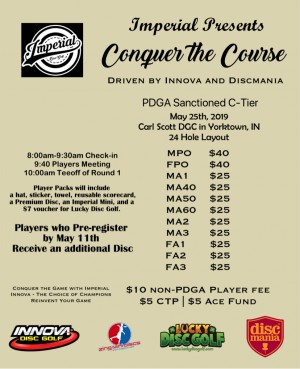 Imperial presents Conquer The Course Driven by Innova and Discmania graphic