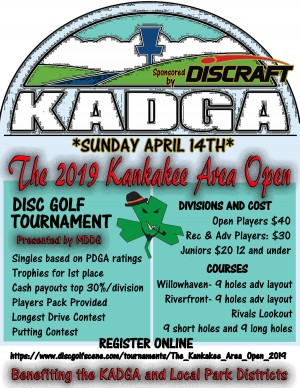 The Kankakee Area Open sponsored by Discraft graphic