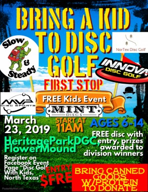 Bring A Kid To Disc Golf 2019, HeritageParkDGC graphic