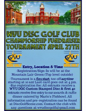 West Virginia University Disc Golf Club Championship Fundraiser Tournament graphic