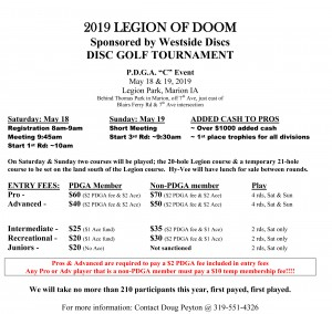 2019 Legion of Doom sponsored by Westside Discs graphic