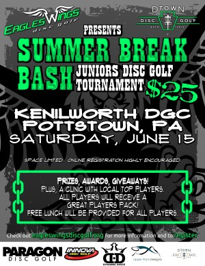 2019 Eagles Wings Disc Golf Kenilworth Summer Break Bash graphic