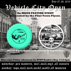 Discraft presents Vehicle City Open (Pro Masters, MA1, MA3, MG1, All Junior Divisions) graphic