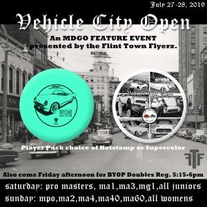 Discraft presents Vehicle City Open (MPO, MA2, MA4, MA40,MA60, All womens divisions) graphic