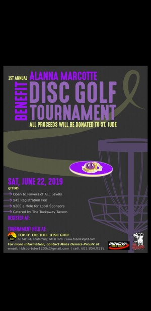 St Jude Charity Disc Golf Event In memory of Alanna Marcotte graphic