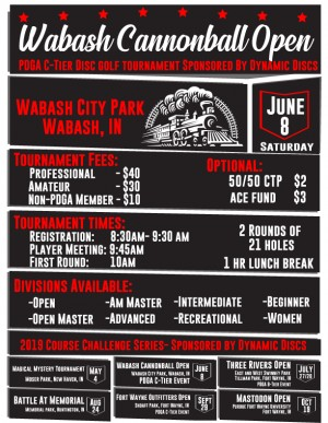 Wabash Cannonball Open- Sponsored by Dynamic Discs graphic