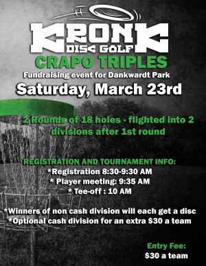 Crapo Triples Charity tournament for Dankwardt Park graphic
