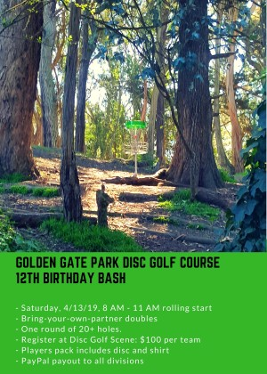 Golden Gate Disc Golf Course 12th Birthday Bash graphic
