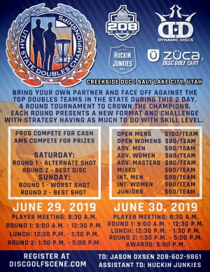 Utah State Doubles Championships presented by Dynamic Discs, 208 Discs, and the Huckin Junkies graphic