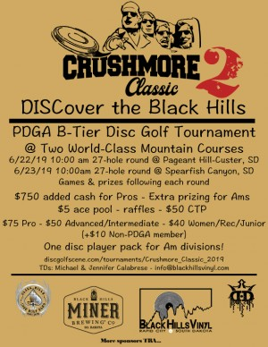 Miner Brewing & Black Hills Vinyl present The Crushmore Classic 2 sponsored by Dynamic Discs graphic