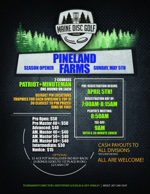 Maine Disc Golf Tour Season Opener 2019: Pineland Farms graphic