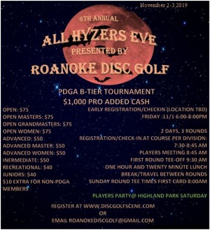 6th Annual All Hyzer's Eve by Roanoke Disc Golf graphic