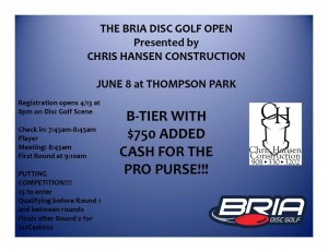 The Bria Disc Golf Open presented by Chris Hansen Construction graphic