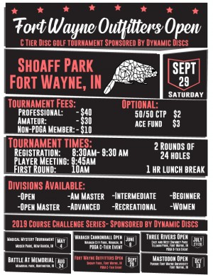 Fort Wayne Outfitters Open- Sponsored by Dynamic Discs graphic