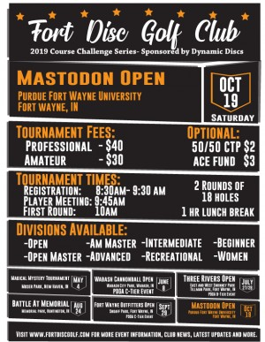 2019 Mastodon Open- Sponsored by Dynamic Discs graphic